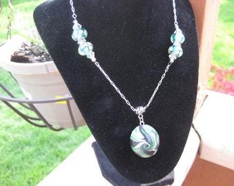 Green Spiral Lentil Necklace
