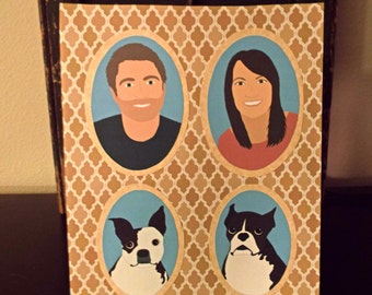 NO FRAME   Illustrated Family Portrait 3-4 People/Pets