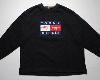 vintage TOMMY HILFIGER sweatshirt big logo SIZE S