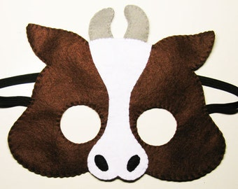 Buffalo Bull Cow  felt mask for kids - Brown farm animal - neat costume for boys girls - handmade Dress up play accessory Theatre roleplay