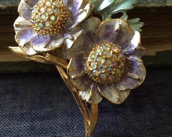 RJ Graziano Purple Flowers Floral Enamel Rhinestone Brooch Pin