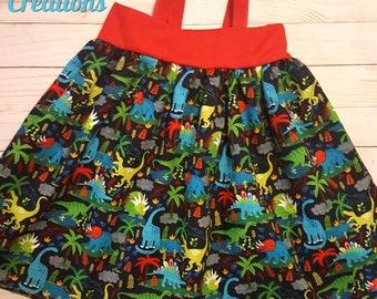 Dinosaur dress, dino tank top dress, dinosaur jungle, dinosaur dress up