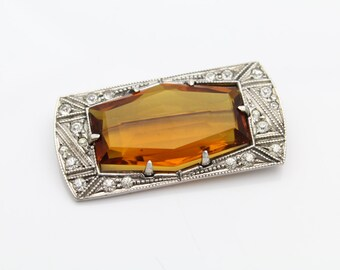 Art Deco Sterling Silver and Sunset Color Crystal Brooch, Great Condition. [6656]