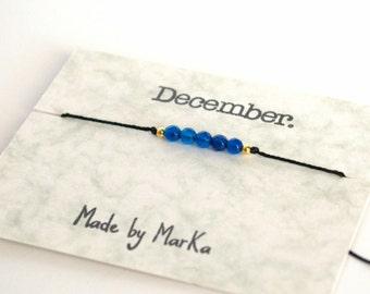 December birthstone bracelet, Blue topaz bracelet, Birthstone bracelet, Birthstone jewelry, Birthday gift, Dainty bracelet