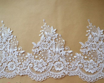 Alencon Floral Lace in Ivory for Wedding dress , Formal dress, Mantilla, Bridal Applique