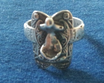 Vintage Sterling Saddle Ring, Mexico, Size 7