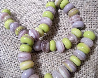 Tiny Beads Spacers Lampwork Beads - 23 pcs Glass Set Pink Green glass beads small beads