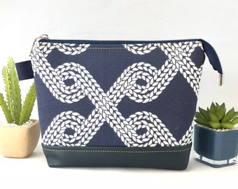 Makeup Pouch, Zipper Pouch, Travel Pouch, Cosmetic Pouch, Nautical Pouch, Upholstery Pouch