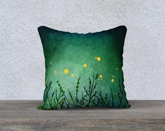 """Night Fireflies Digital Print Pillow Case, 18""""x18"""""""