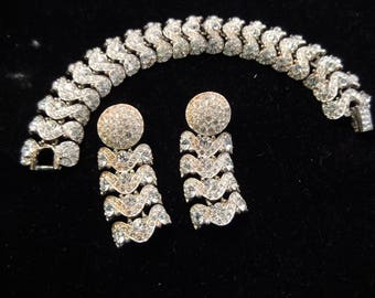 Clear Rhinestone Bracelet with Matching Pierced Earrings, Silver Tone Metal, Mint Condition