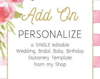 Add-On - Personalize a SINGLE editable invitation from the AmistyleArtStudio shop