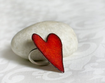 Red Heart Enamel Ring - Red enamel on copper - Red heart on Sterling Silver band