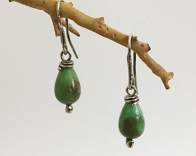 Sterling Silver Green Drop Earrings