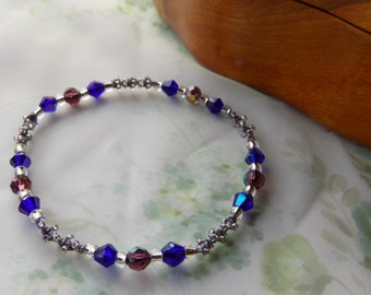 Beaded Micro Macrame Bangle BRACELET Purple Blue Silver Lavender Medium Laarge No Metal Parts