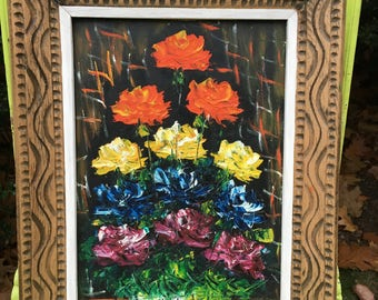 Flowers! Vibrant Vintage Floral Oil Painting MCM Signed Art BRIGHT