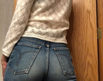 vintage GWG jeans, distressed jeans, worn in denim, boyfriend jeans, straight leg, grunge - 90s