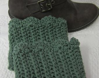 Crochet Boot Cuffs,Boot Cuffs,Scalloped edge,Sage Green Boot Cuffs,Boot Topper,Boot Socks,Scalloped Boot Cuff.Womens Fashion,Green Boot Cuff