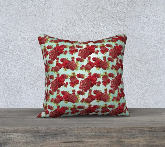 teal and red vintage roses cushion cover size 18x18