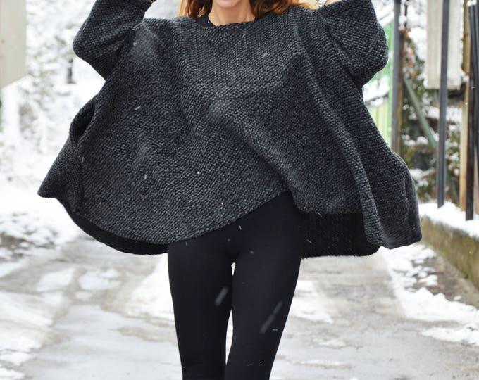 Winter Dark Grey Loose Tunic, Side Pockets Maxi Blouse, Asymmetric Wool Warm Top, Extravagant Oversize Tunic by SSDfashion
