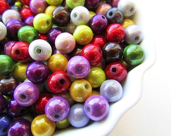 Assorted Miracle Beads 8mm Magical Illusions Plastic 3D Beads Round Glow Beads Shiny Beads Center Drilled Craft Supplies Set of 50pcs