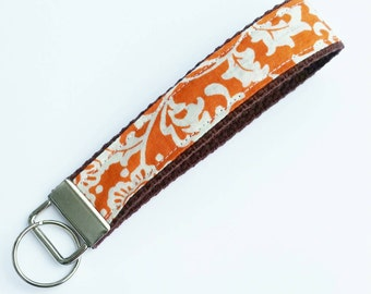 FREE SHIPPING UPGRADE with minimum -  Key Lanyard - Key Fob - Fabric Key Ring -- Orange on Cream