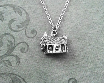Cabin Necklace VERY SMALL Silver Cabin Charm Necklace Cabin Jewelry Cabin Gift Camping Gift Camp Gift Lakehouse Necklace Bridesmaid Necklace