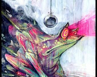 "Frog Art Print - Surreal Art - Mixed Media Art - Trippy Art - ""Feelin A Bit Froggy"" by Black Ink Art"