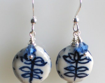 Blue and White Ceramic Earrings, Painted Porcelain Earrings, Clay Dangle Ceramics with Silver, Chinese Inspired, Floral Motif