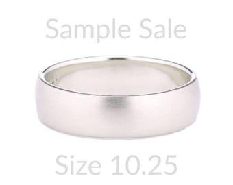 Size 10.25 Ready to Ship, Mens 14K White Gold Ring, 14K Gold Domed Band, Mens White Gold Dome Wedding Band