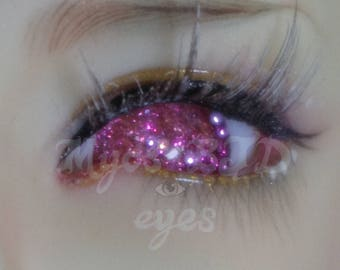 Pink/red glitter 16mm bjd eyes with blue glow in the dark detail
