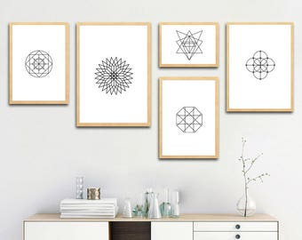 Geometry Shapes and Lines, Abstract printable art, gift ideas, home decoration wall art, digital download, print at home, 82-90