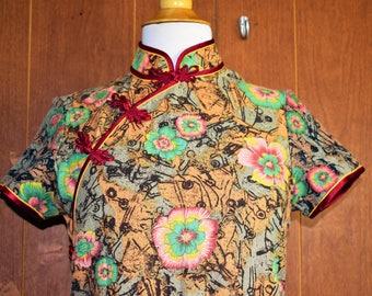 Vintage Women's Size Small Cotton Blend Short Sleeve Oriental Asian Tunic Dress Top
