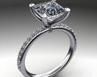 shay ring - 1.7 carat princess cut NEO moissanite engagement ring, square moissanite engagement