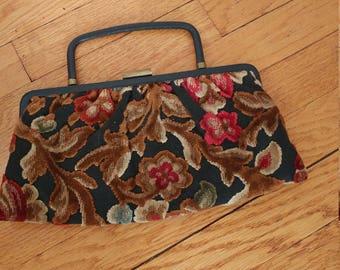 Vintage 50 s 60 s chenille tapestry floral handbag