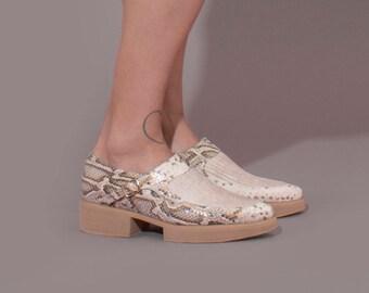 Unique Leather Shoes, Platform Shoes, Snakeskin Shoes, Handmade Shoes, Buckle Shoes, Women Leather Shoes