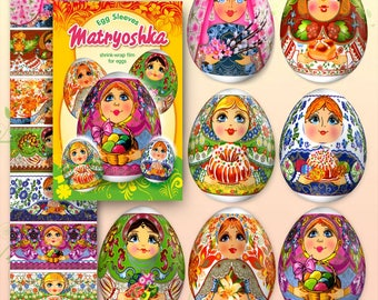 Matryoshka #37 Babushka Easter Egg Sleeves Shrink Wraps Easter Decoration