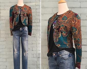 1980s quilted bolero jacket / 80s teal gold cropped blazer / 1980s paisley print bolero / lightweight jacket