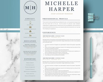 Modern resume etsy professional modern resume template for word and pages resume design cv template for altavistaventures Image collections