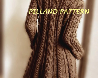 Cable Knit Coat Sweater Knitting Pattern Aran knit coat pattern PDF knit Pattern Instant Download pattern in ENGLISH ONLY