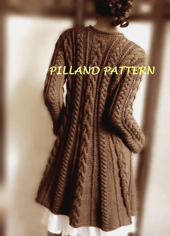 Cable knit coat sweater pdf knitting pattern aran knit coat cable knit coat sweater pdf knitting pattern aran knit coat pattern digital download pattern in english only dt1010fo