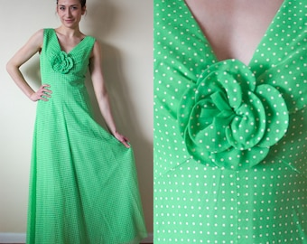 Miss Elliette of California 1970s Vintage Organdy Green Maxi Dress