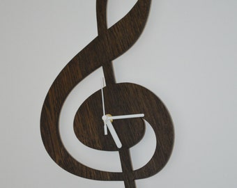 Laser cut clock, wooden clock, treble clef clock