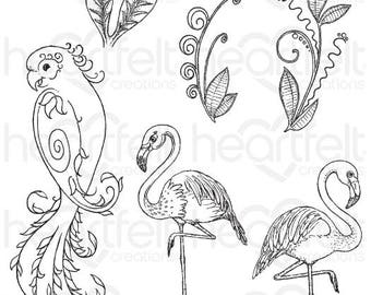 "Heartfelt Creations ""Tropical Paradise"" Cling Stamp Set HCPC-3783"