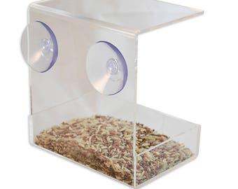 Window Mounted Clear Acrylic Bird Feeder Tray