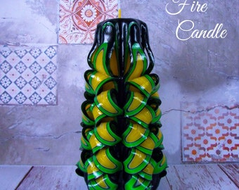 Green Candle, a pineapple,  Unique gift candle, Carved candle, резные свечи, Gift for her, Birthday gift, Candle for her