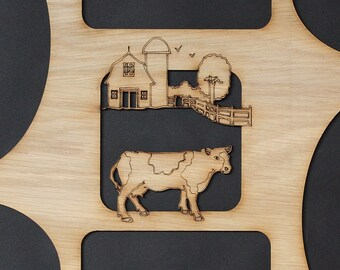 11x14 Farm Cow Barn Wood Photo-Picture Mat Collage Insert