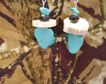 Deer Antler and Turquoise Stone Earrings, Antler Jewelry, Turquoise Earrings, Western Earrings, Gifts for Country Girl, Christmas Gifts