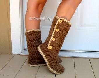 Crochet Boot Pattern 137 Crochet Buttoned Women's Boots Womens Crochet Slipper Pattern High-Top Boots Crochet Adult Teen Winter Boots