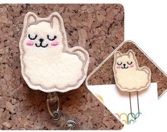 Fuzzy Llama Badge Reel, Id Card Holder, Retractable Felt Badge Holder, Lanyard, Badge Pull, Gifts for Nurses, Planner Paper Clip 1471