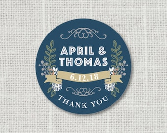 Thank You Stickers Custom Thank You Wedding Labels Stickers for Favors Personalized Thank You Stickers Floral Wedding Stickers